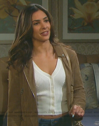 Gabi's white floral cardigan on Days of Our Lives