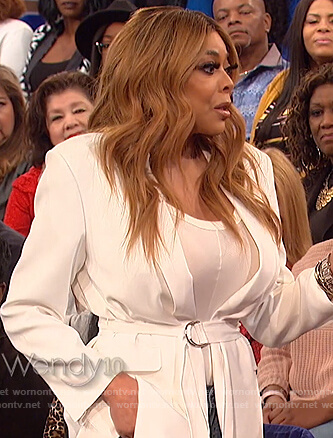 Wendy's white belted wrap dress on The Talk
