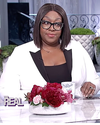 Loni's white contrast blazer on The Real