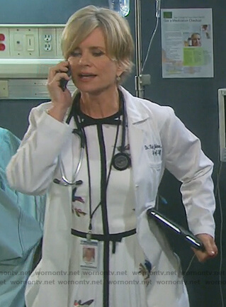 Kayla's white bird embroidered dress on Days of Our Lives