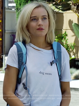 Terra's white dog mom distressed tee on Dirty John