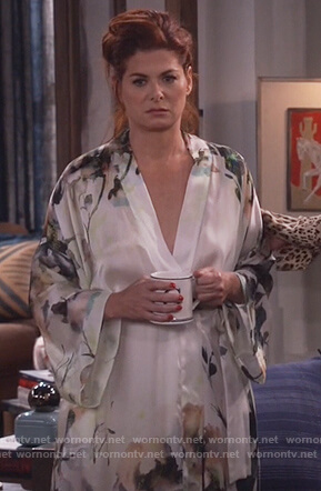 Grace's floral silk robe on Will and Grace
