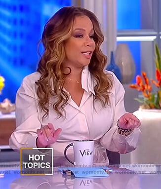 Sunny's white gathered wrap blouse on The View