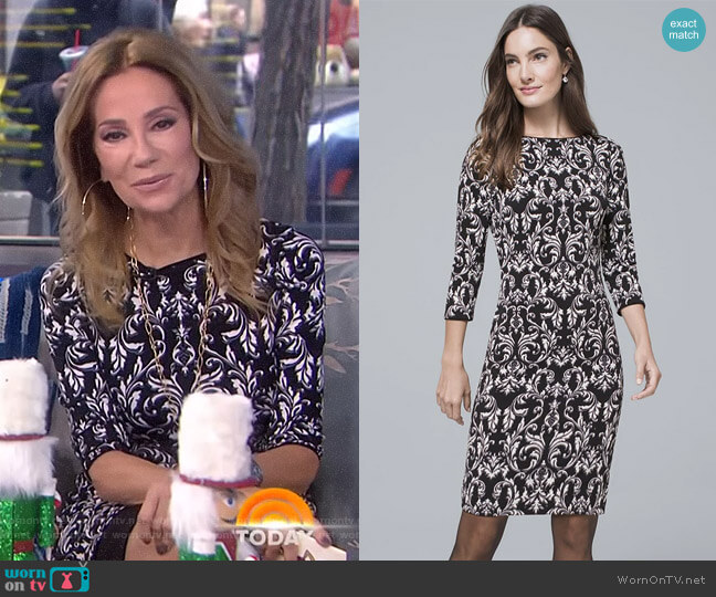 Reversible Filigree Print Knit Sheath Dress by White House Black Market worn by Kathie Lee Gifford (Kathie Lee Gifford) on Today