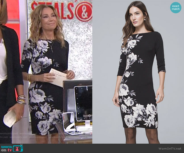 Reversible Floral Sheath Dress by White House Black Market worn by Kathie Lee Gifford (Kathie Lee Gifford) on Today