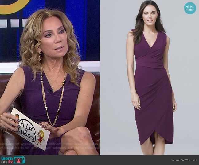 Ruched Detail V-Neck Sheath Dress by White House Black Market worn by Kathie Lee Gifford  on Today
