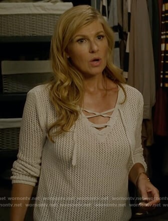 Debra's white lace-up knit sweater on Dirty John