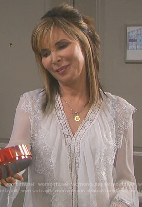 Kate's white v-neck lace blouse on Days of Our Lives