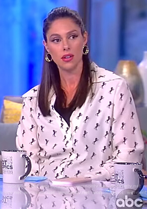 Abby's white horse print silk blouse on The View