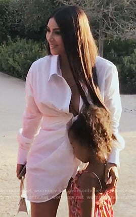 Kim's white wrap top on Keeping Up with the Kardashians
