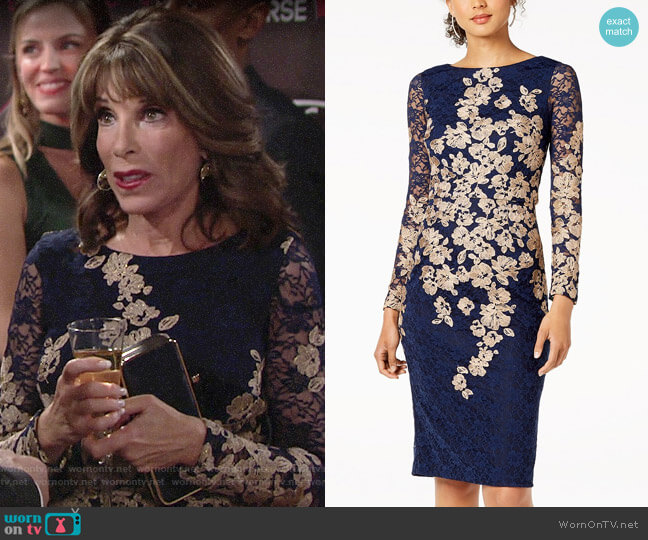 Xscape Floral-Embroidered Lace Dress worn by Esther Valentine (Kate Linder) on The Young & the Restless