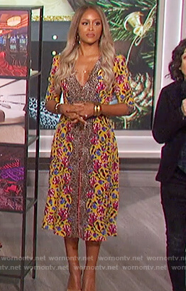 Eve's yellow floral and leopard print dress on The Talk