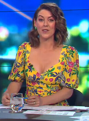 Gorgi's yellow floral v-neck dress on The Project