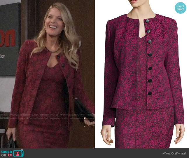 ZAC Zac Posen Bell Printed Tailored Jacket worn by Nina Reeves (Michelle Stafford) on General Hospital