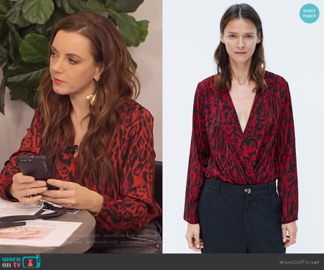 Animal Print Bodysuit by Zara worn by Melanie Bromley  on E! News