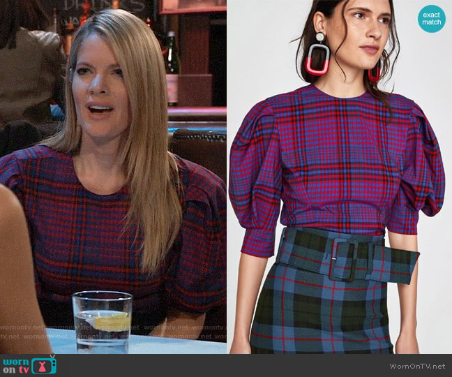 Zara Checked Top worn by Nina Reeves (Michelle Stafford) on General Hospital
