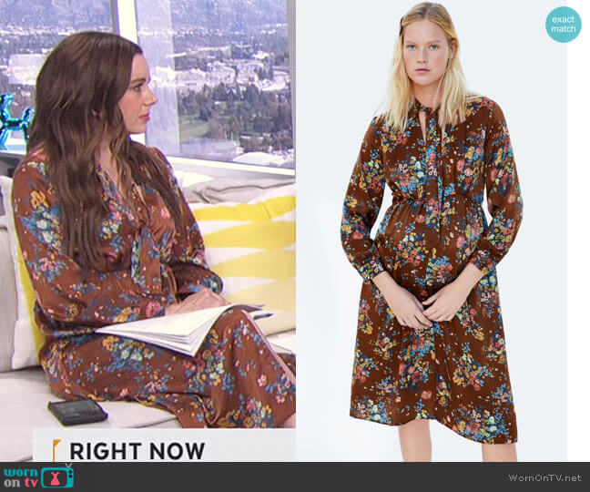 Floral Print Dress by Zara worn by Melanie Bromley  on E! News