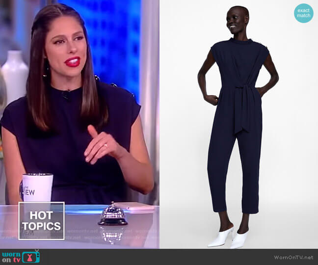 Jumpsuit with Buttons and Tie by Zara worn by Abby Huntsman  on The View