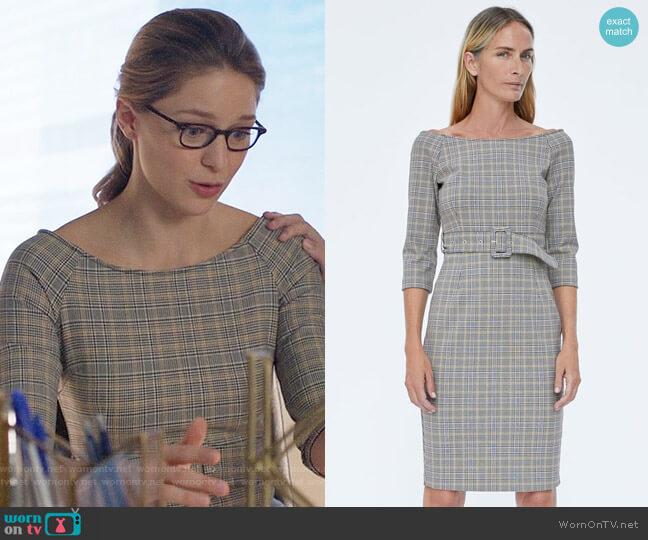 Zara Belted Checkered Dress worn by Kara Danvers (Melissa Benoist) on Supergirl