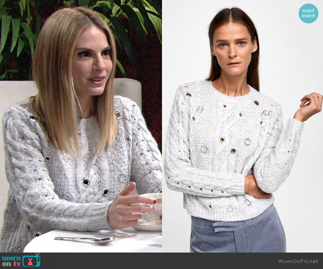 Zara Cable Knit Eyelet Sweater worn by Mac on The Young and the Restless