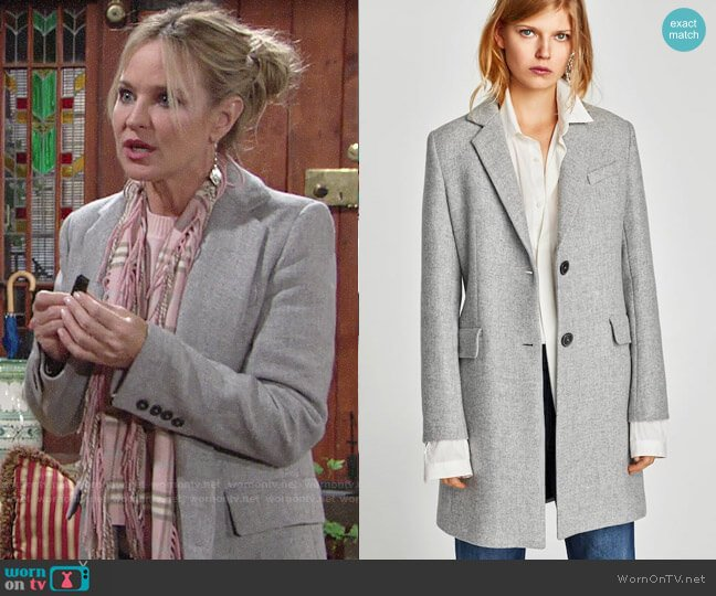 Zara Coat with Shoulder Pads worn by Sharon Collins (Sharon Case) on The Young & the Restless