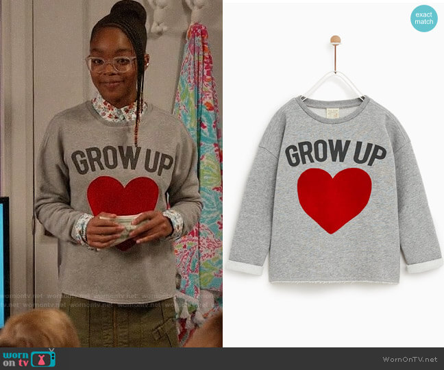 Zara Heart Sweatshirt worn by Diane Johnson (Marsai Martin) on Blackish