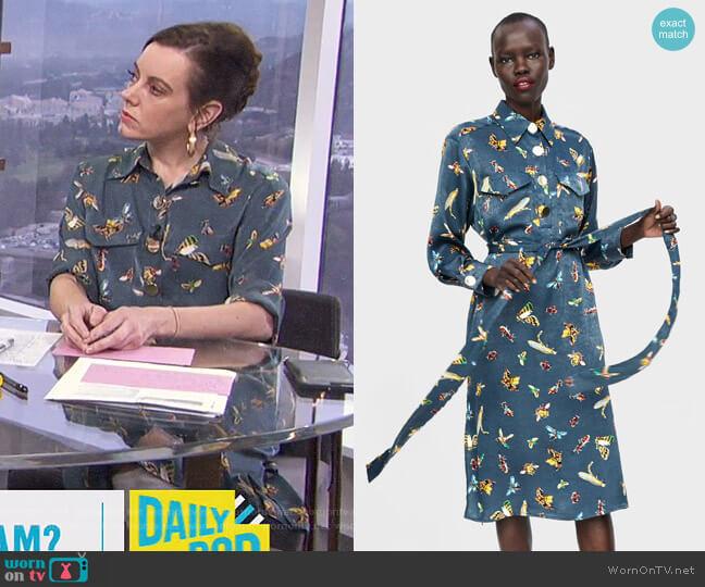 Insect Print Blouse by Zara worn by Melanie Bromley (Melanie Bromley) on E! News