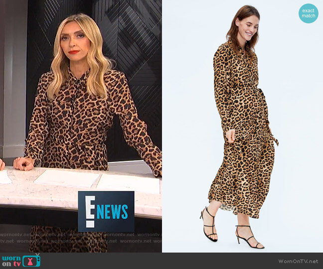 Long Leopard Print Dress by Zara worn by Giuliana Rancic  on E! News