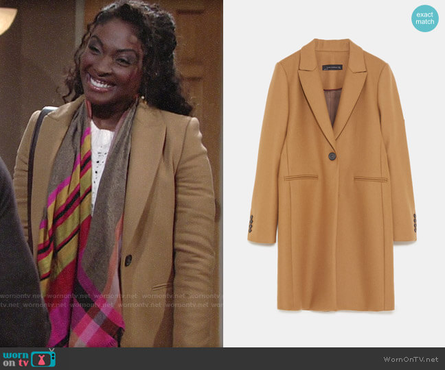 Zara Masculine Coat worn by Ana Hamilton (Loren Lott) on The Young & the Restless