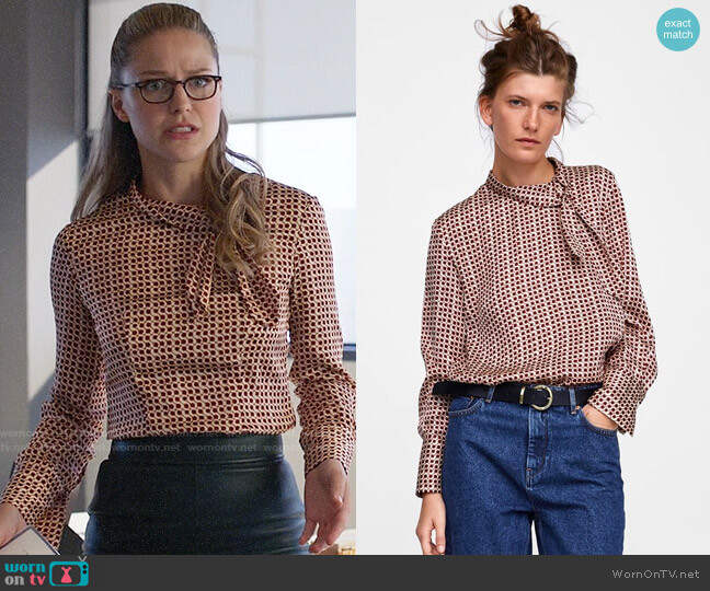 Zara Printed Blouse with Bow worn by Melissa Benoist on Supergirl