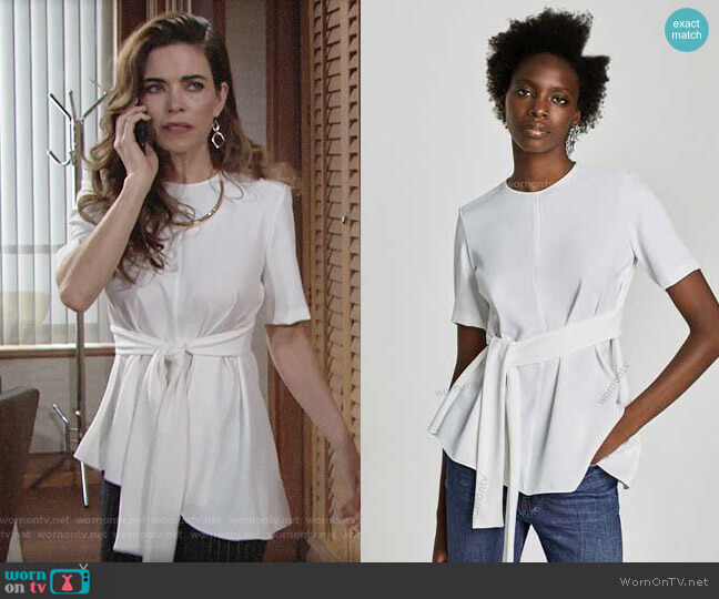 Zara Tie Waist Blouse worn by Victoria Newman (Amelia Heinle) on The Young & the Restless