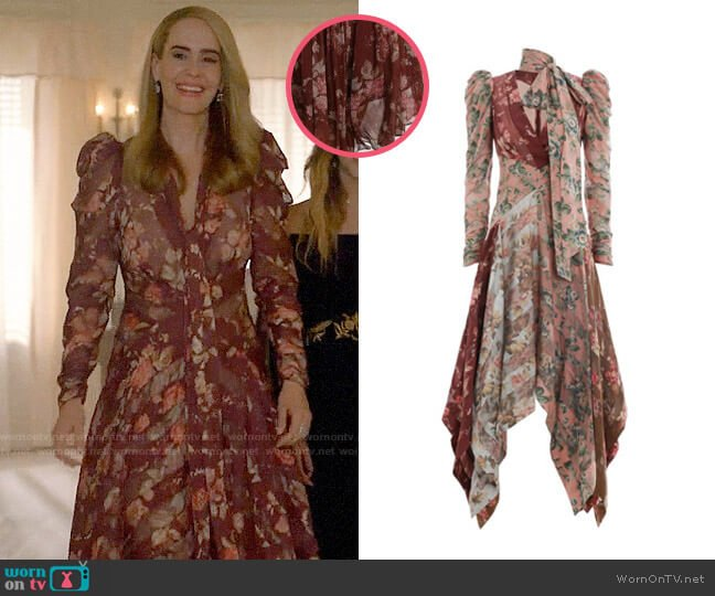 Zimmermann Unbridled Chevron Dress worn by Cordelia Foxx (Sarah Paulson) on American Horror Story
