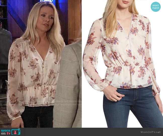 1.State Wildflower V-Neck Peplum Blouse worn by Felicia Scorpio (Kristina Wagner) on General Hospital