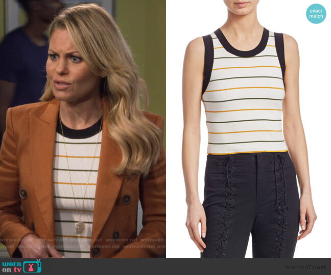 Rita Striped Sleeveless Knit Top by ALC worn by DJ Tanner-Fuller (Candace Cameron Bure) on Fuller House