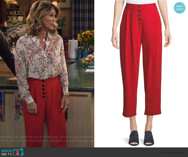 Russel Cropped Button-Fly Crepe Pants by ALC worn by Rebecca Katsopolis (Lori Loughlin) on Fuller House