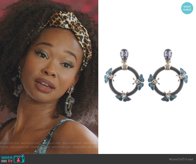 Brutalist Butterfly Clip-On Drop Earrings by Alexis Bittar worn by Monica Colby (Wakeema Hollis) on Dynasty