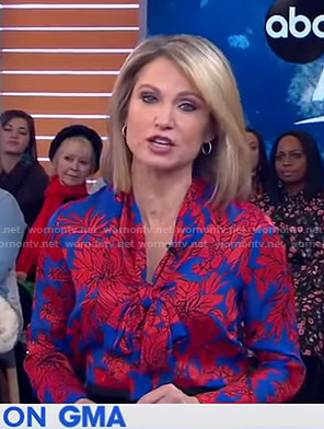 Amy's blue and red floral blouse on Good Morning America