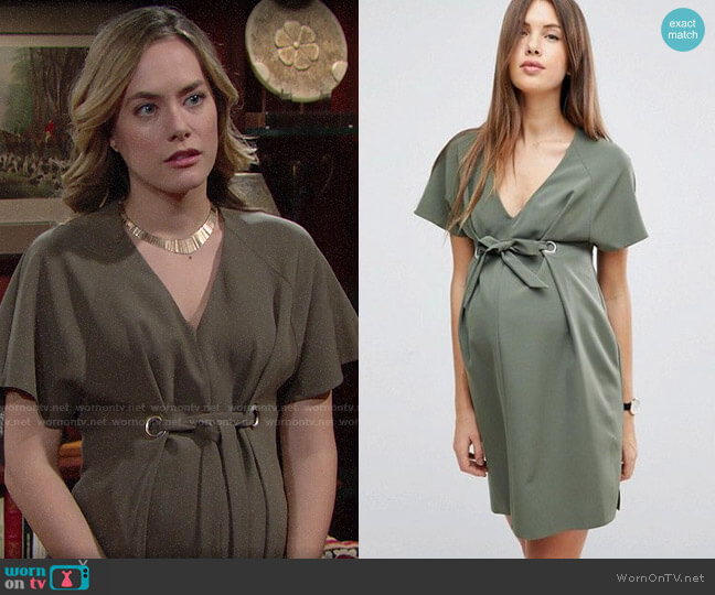 ASOS Maternity V Neck Column Mini Dress with Eyelet and Tie worn by Hope Logan (Annika Noelle) on The Bold & the Beautiful