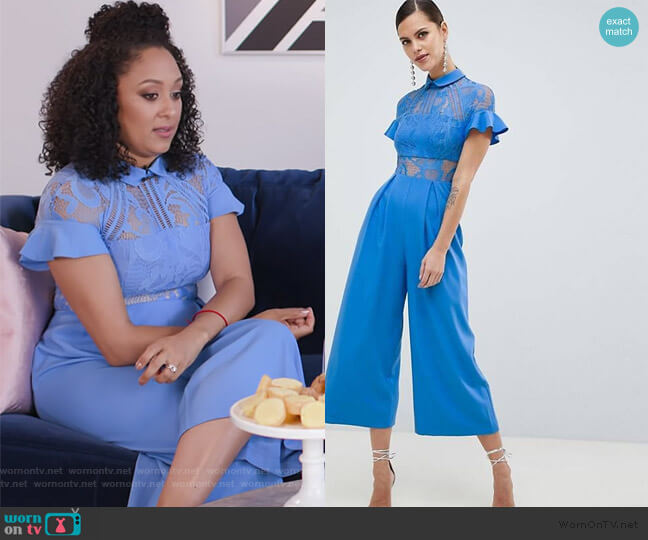 Lace Top Jumpsuit With Culotte Leg by ASOS worn by Tamera Mowry  on E! News
