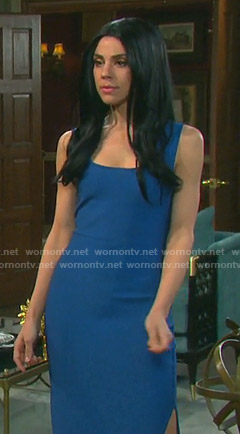 Abigail's blue side slit fitted dress on Days of our Lives