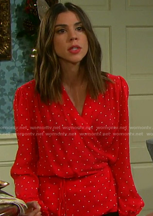 Abigail's red polka dot wrap blouse on Days of our Lives