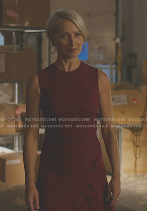 Ada's red ruffled sleeveless dress on Dynasty