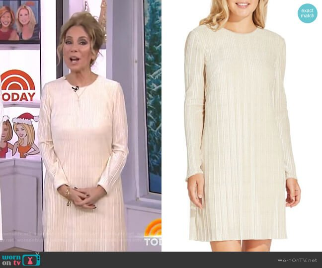 Metallic Velvet Pleated Shift Dress by Adrianna Papell worn by Kathie Lee Gifford  on Today