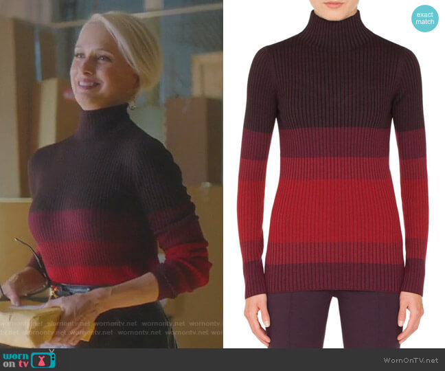 Tricolor Wool Turtleneck Sweater by Akris Punto worn by Ada Stone (Katherine LaNasa) on Dynasty