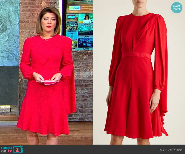Scarf-Neck Crepe Dress by Alexander McQueen worn by Norah O'Donnell  on CBS This Morning