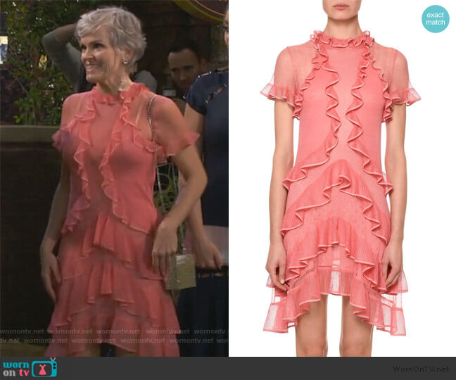 Fluid Ruffle On Lace Sheer Mini Dress by Alexander McQueen worn by Claire (Amber Stevens West) on Happy Together