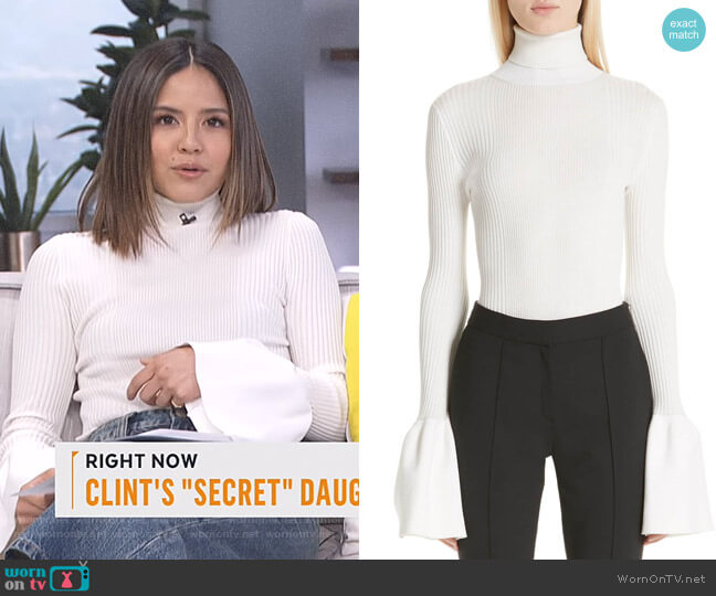 Flare Cuff Ribbed Sweater by Alexander Wang worn by Erin Lim  on E! News