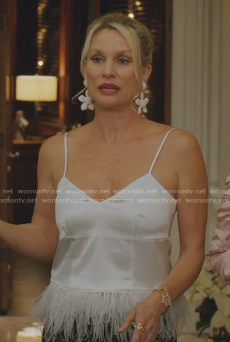 Alexis's white feather detail camisole on Dynasty