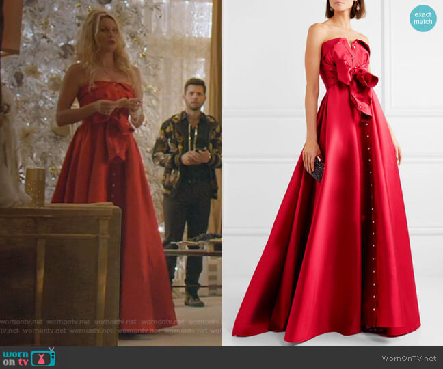 Bow-Detailed Satin-Twill Gown by Alexis Mabille worn by Alexis Carrington (Elaine Hendrix) on Dynasty