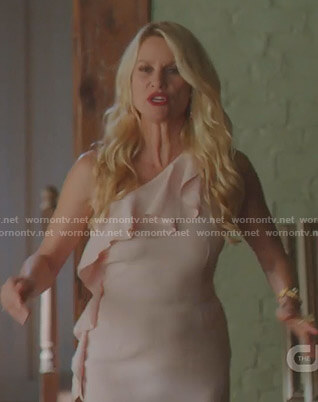 Alexis's pink ruffle one shoulder dress on Dynasty